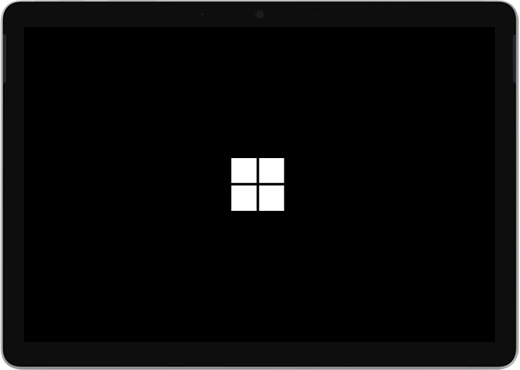 A black screen with the Windows logo in the center.