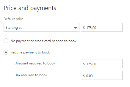 Screen capture: Depicting required payment for service