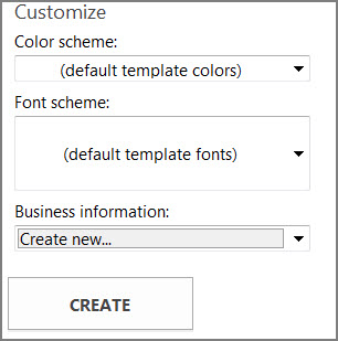 Postcard template options for templates from Office.com.