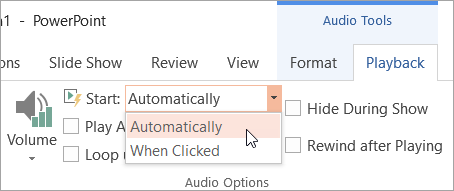 Selecting a Start option on the Audio Tools Playback tab