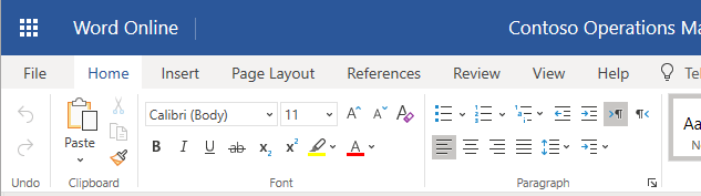 The ribbon in Word Online