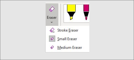 List of eraser sizes: stroke, small, and medium