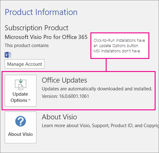 click to run installations have an update options button on the account page - Download Microsoft Visio Free Trial