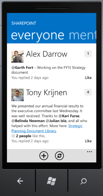 SharePoint Newsfeed App everyone screen
