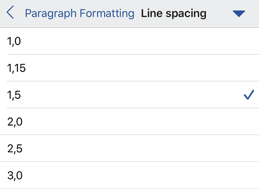 Line spacing options in Word for iOS.
