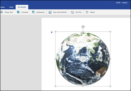The 3D Model tab of Word