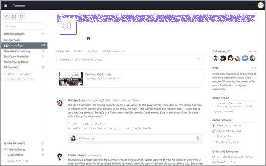 Yammer live event indicators when using Yammer on the web