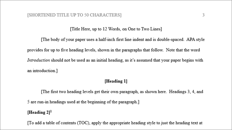 Page of APA template, showing formatting and boilerplate text