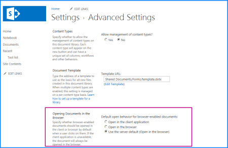 Screenshot of the Advanced Settings page for a Document Library in SharePoint