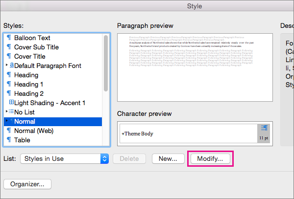 Set a default font and font size for Basic templates