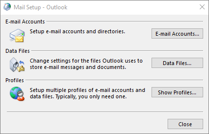 Mail Setup - Outlook dialog box that is accessed through Mail settings in the Control Panel