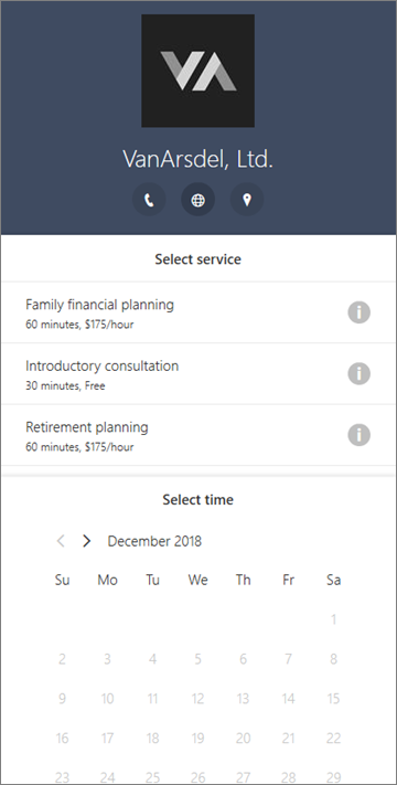 An example Bookings form for a financial services business