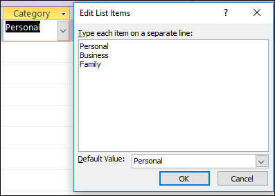 Edit List Items dialog box in an Access form