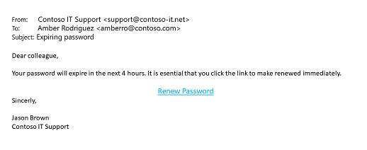 A sample phishing message