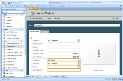Modify the Assets Access Database template - Access