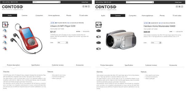 Example of catalog item page