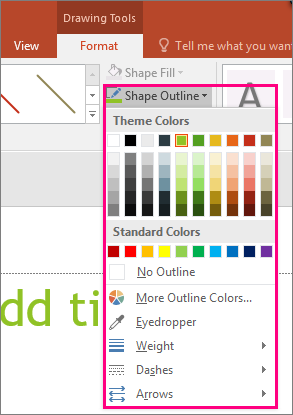 Shows line color options in Office