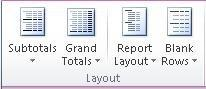 PivotTable Tools: The Layout group on the Design tab