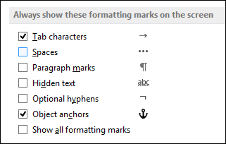 Always show or hide formatting symbols