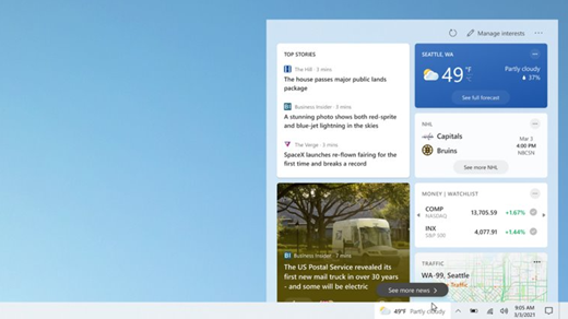 News and Interests toolbar
