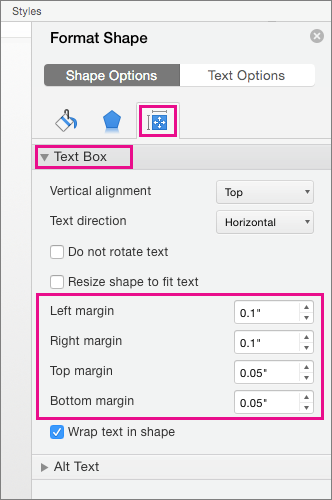 Text Box options are highlighted on the Format Shape pane.