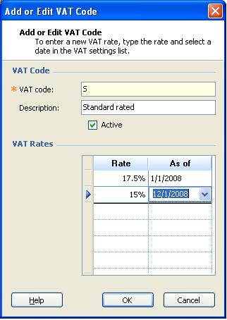 Add or Edit VAT Code dialog box