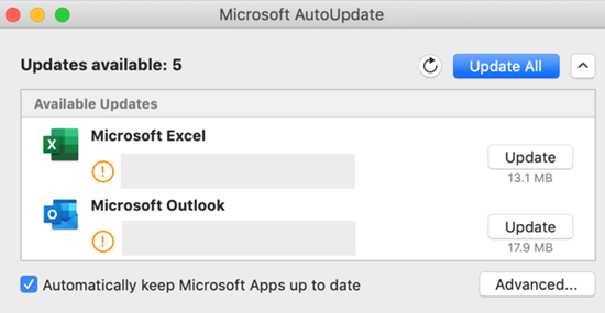 Image of Microsoft AutoUpdate dashboard with information about the updates.
