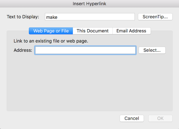 Create or remove a hyperlink in a message in Outlook for Mac