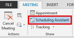 The Scheduling Assistant option is on the Meeting tab.