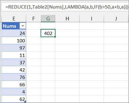 Second REDUCE function example
