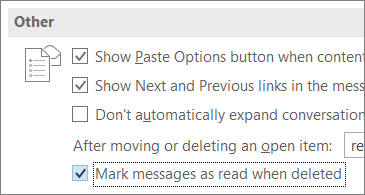Mark messages as read when deleted check box in Outlook OPtions dialog box