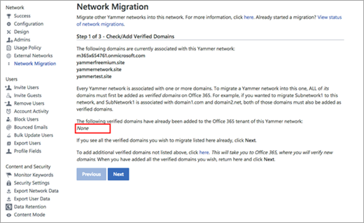 Network migration page showing just one network, and none that need to be consolidated
