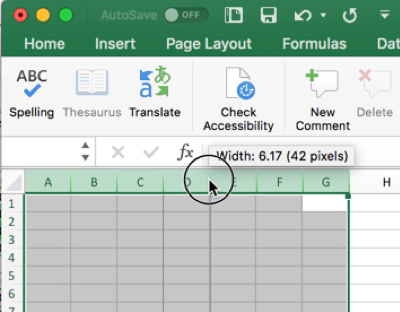 Screen shot showing how to use the mouse to resize column widths in Excel