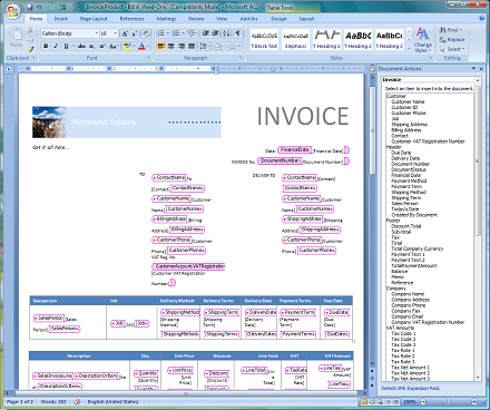 formatted invoice