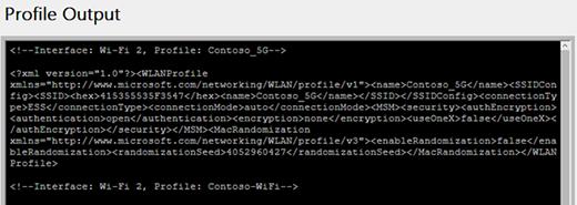 Network profile info shown in the wireless network report