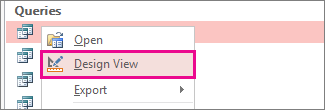 Context menu of a query in the Navigation Pane