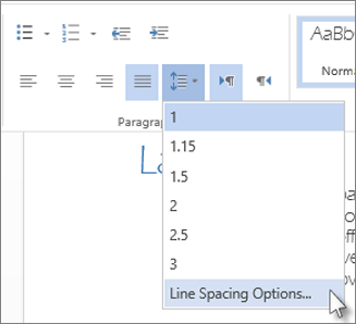 Line spacing menu in Word Web App