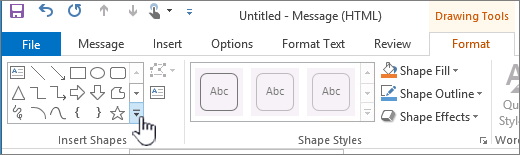 Outlook insert shape button