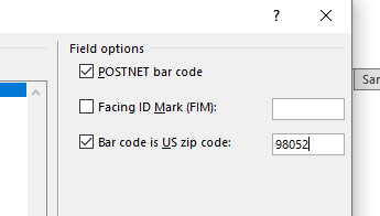 Field code options section