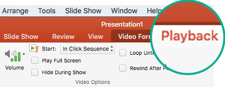 When a video is selected on a slide, a Playback tab appears on the toolbar ribbon that lets you set video playback options.