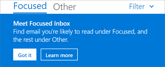 An image of what Focused Inbox looks like when a user first opens Outlook on the web.