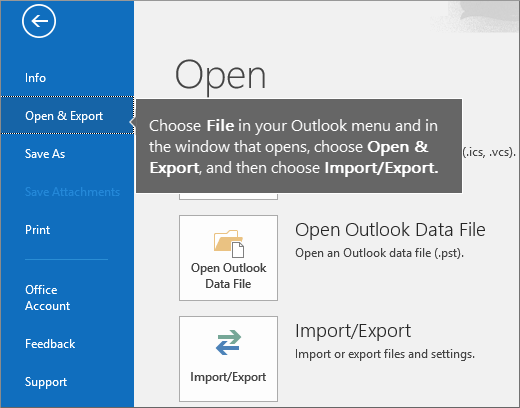 To create your Outlook pst file, choose File, choose Open and Export, and then Import/Export image