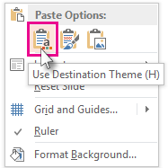 Paste Options: Use Destination Theme