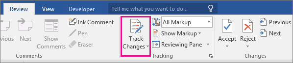 The Track Changes option is highlighted on the Review tab.