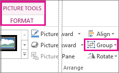 Group button found on the Picture Tools Format tab