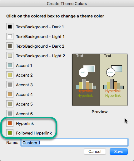 Choose colors for hyperlinks and followed hyperlinks