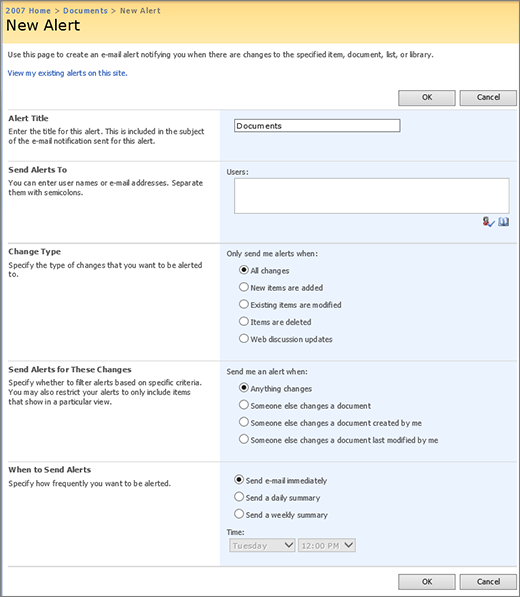 SharePoint 2007 Alert options page