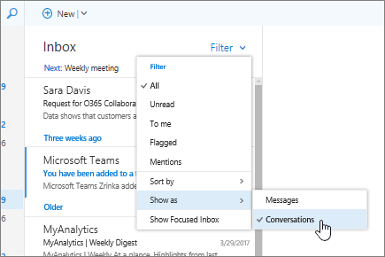 Screenshot of Inbox, showing Filter > Show As > Conversations selected.