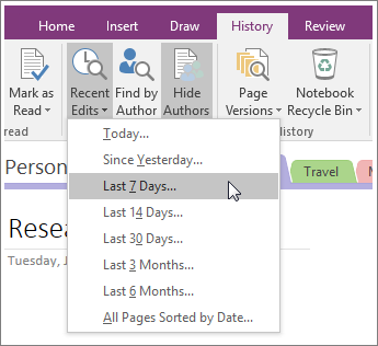 Screenshot of the Recent Edits button in OneNote 2016.