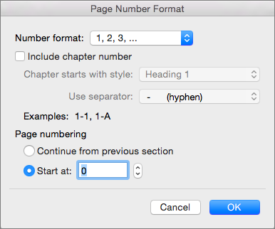 Select numbering style and the starting number in Page Number Format.